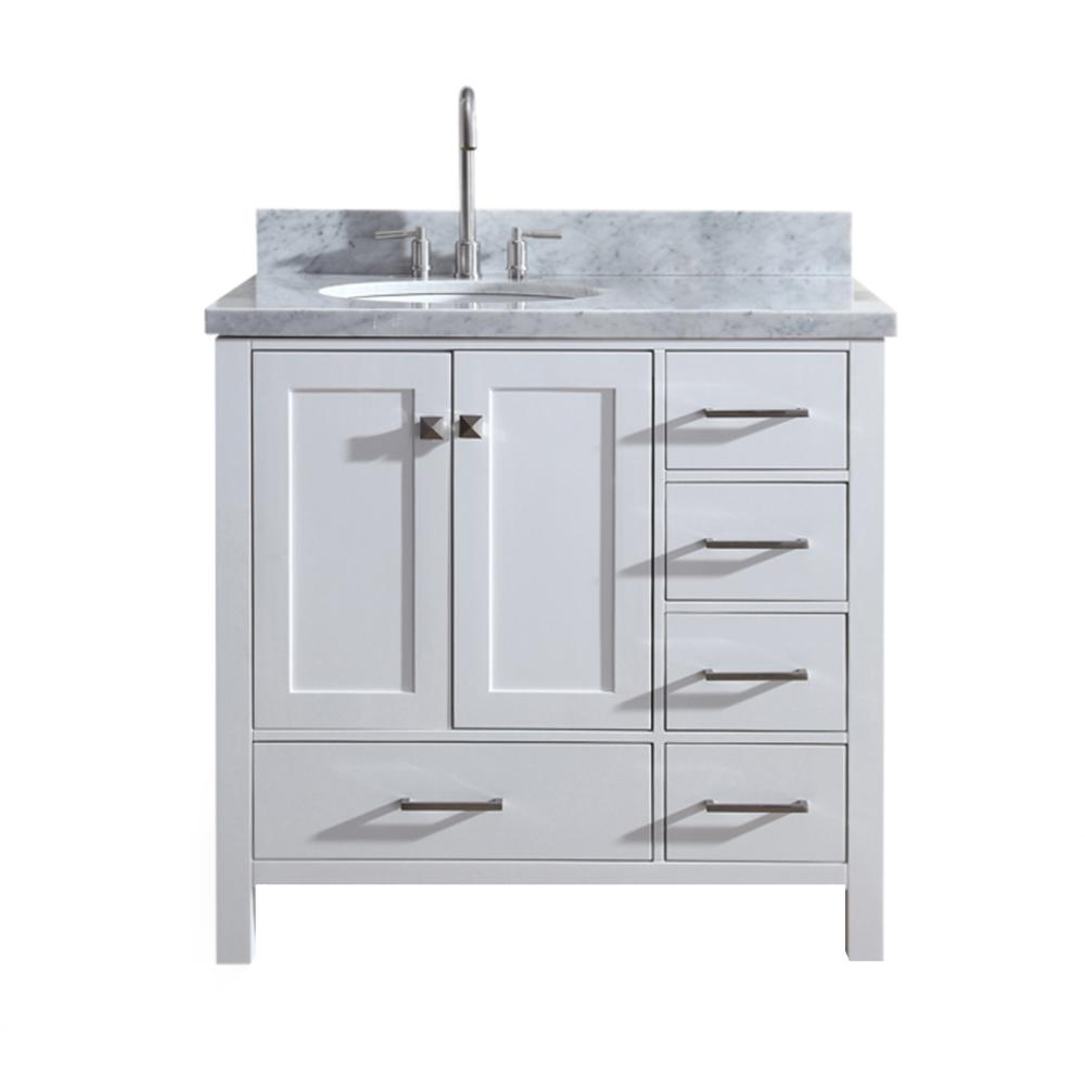 Ariel Cambridge 37 In Bath Vanity In White With Marble Vanity Top In Carrara White With White Basin A037s L Vo Wht The Home Depot Single Sink Vanity Marble Vanity Tops Single Bathroom Vanity