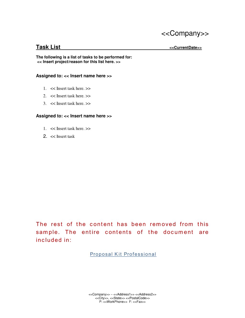 Quick Corporate Task Worksheet