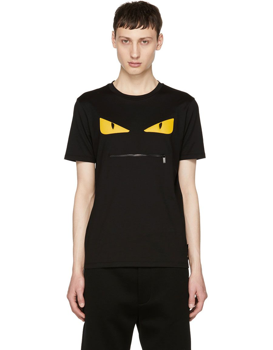 f8b5f09e40 h3>FENDI</h3> Black 'Bag Bugs' Zip Mouth T-Shirt in 2019 | Men ...