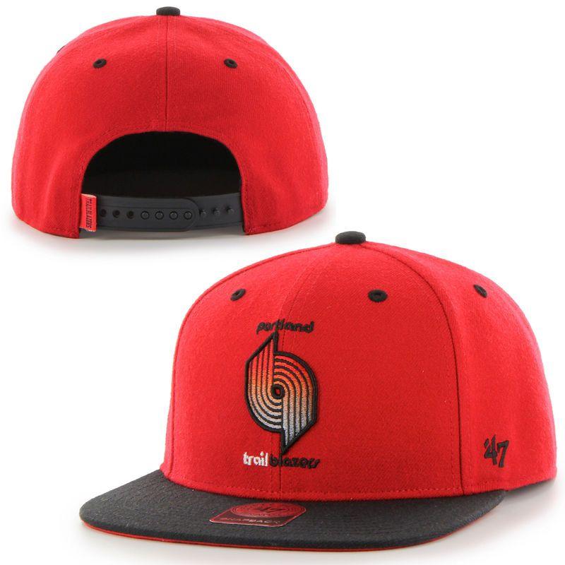 meet 15870 caa36 Portland Trail Blazers  47 Brand Hardwood Classics Rocco Neon Adjustable Snapback  Hat - Red
