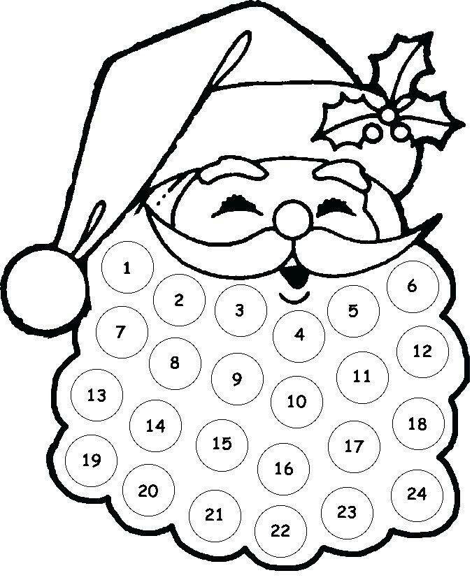 Glue cotton balls on santas beard from 1-24. Great holiday