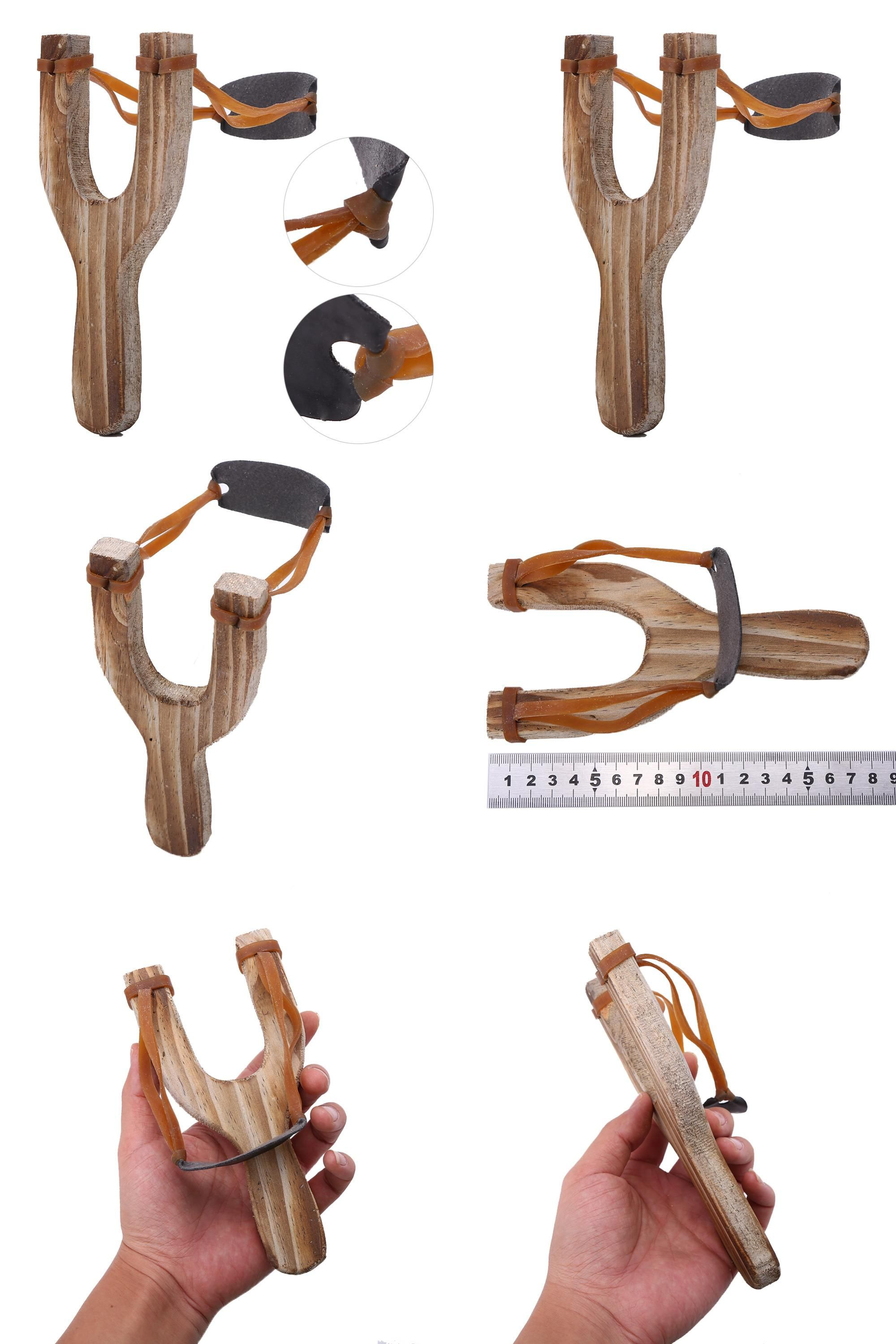 Visit to Buy] 1pcs Powerful Slingshot Sling Shot Wooden Flat