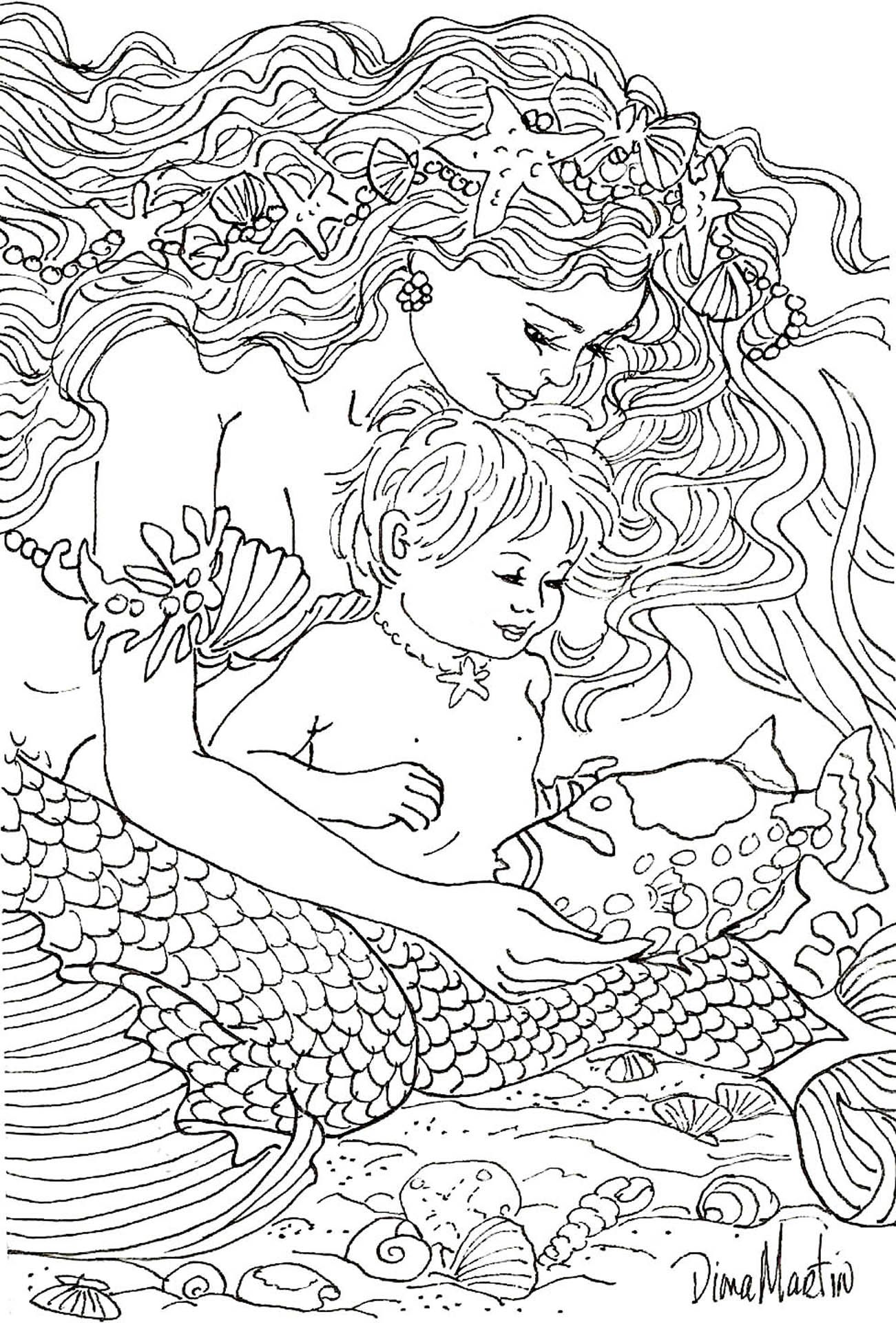 Making New Friends Mermaid Coloring Pages Mermaid Coloring