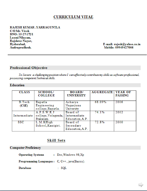 curriculum vitae proforma free download sample template excellent resume cv format with career objective for