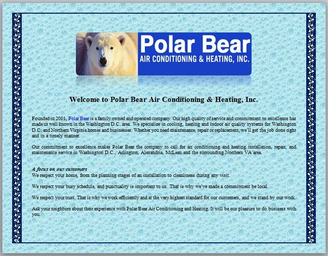 Welcome To Polar Bear Air Conditioning Heating Hvac Services