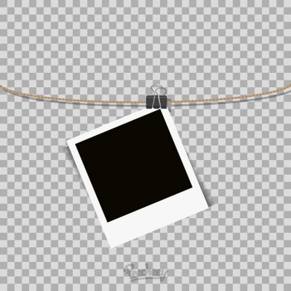 Polaroid Frame Hanging Rope Transparent Background