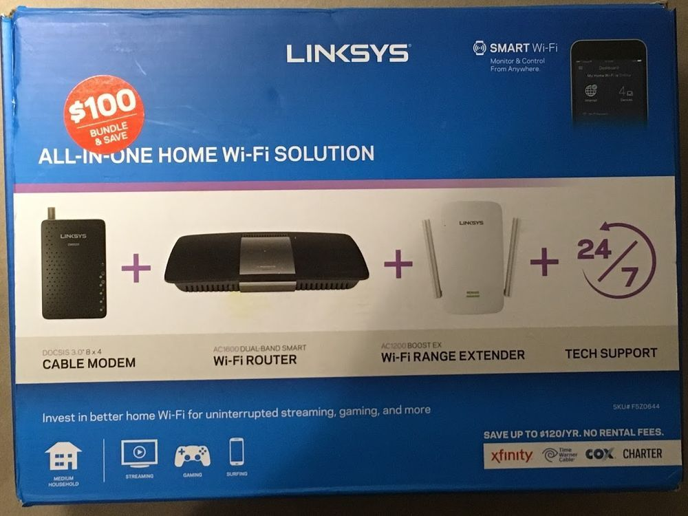 Linksys F5z0644 Wm Dual Band Smart Wifi Router Ac1200 Boost Extender Cable Modem Linksys Cable Modem Linksys Wifi Router