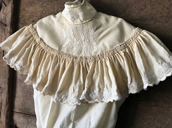 1910s Girls Ruffled Blouse, Shirt, Jacket, Cotton, White Embroidery