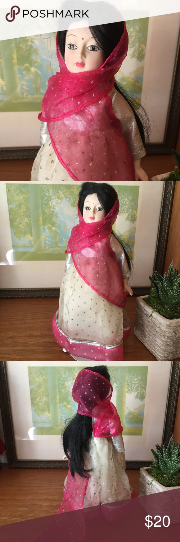 "Danbury Mint Bride Doll Shanti of India 9"" Danbury Mint Bride Dolls of the World ""Shanti of India"" doll. Very good vintage condition. Vintage Accents Decor #bridedolls"