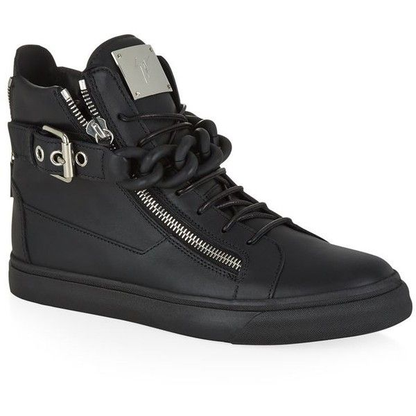 Giuseppe Zanotti Mono Chain Leather High Top Sneaker (£745) ❤ liked on  Polyvore