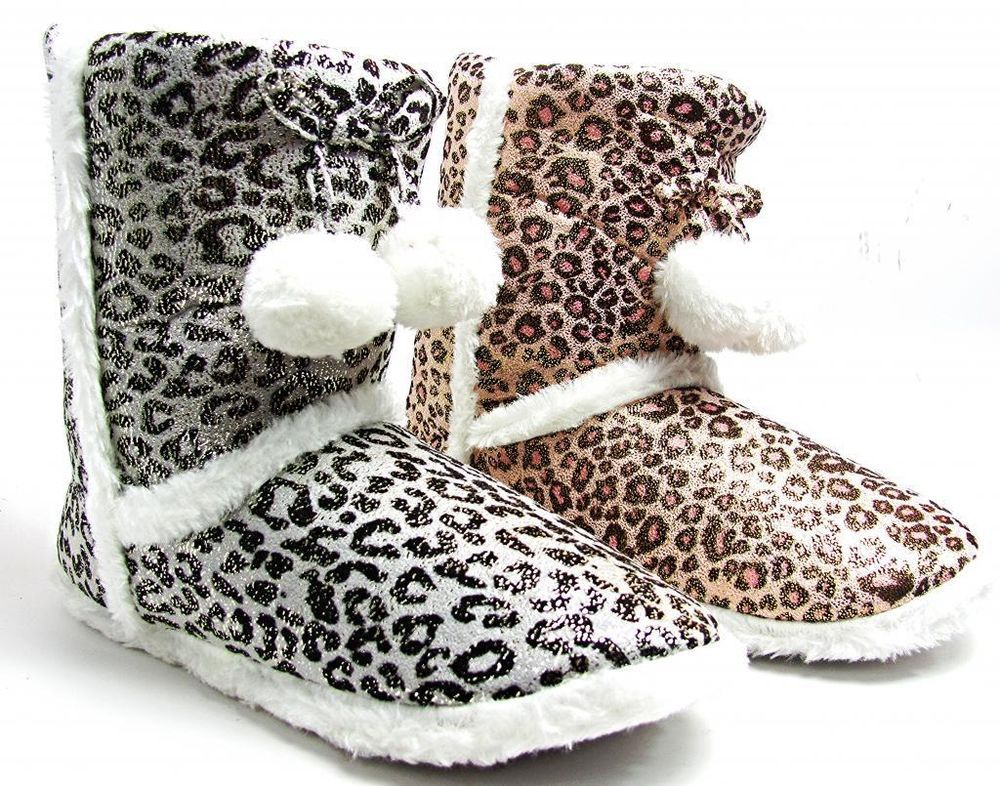 97b91fa026f Details about Womens Bootie Slippers Leopard Animal Print Glitter ...