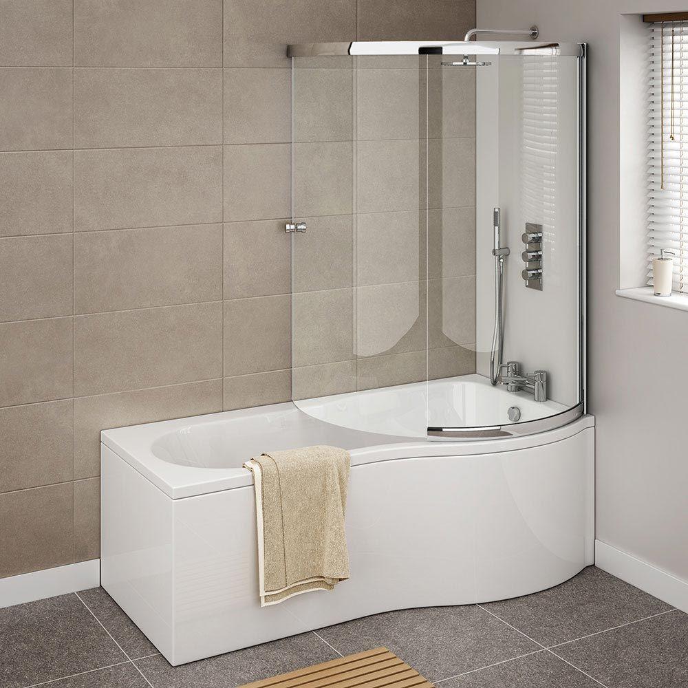 Cruze Shower Bath Enclosure - 1700mm P-Shaped Inc. Screen + Panel ...