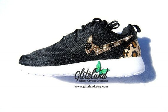 e29b1fe64518 Blinged Black  White Nike Roshe Run with Brown Cheetah Heel Made with  SWAROVSKI® cheetah print Crystals- New In Box