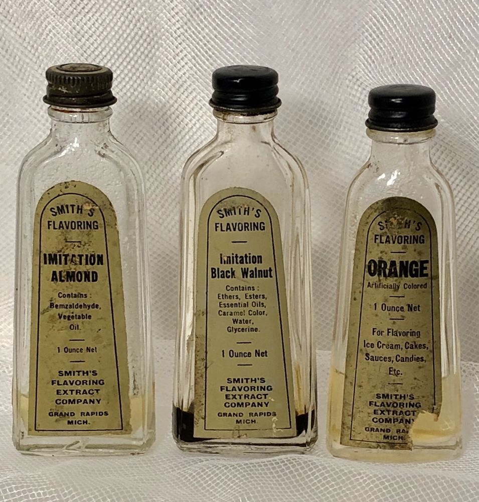 Details About 3 VTG 1950 Smith's Flavoring Gold Label