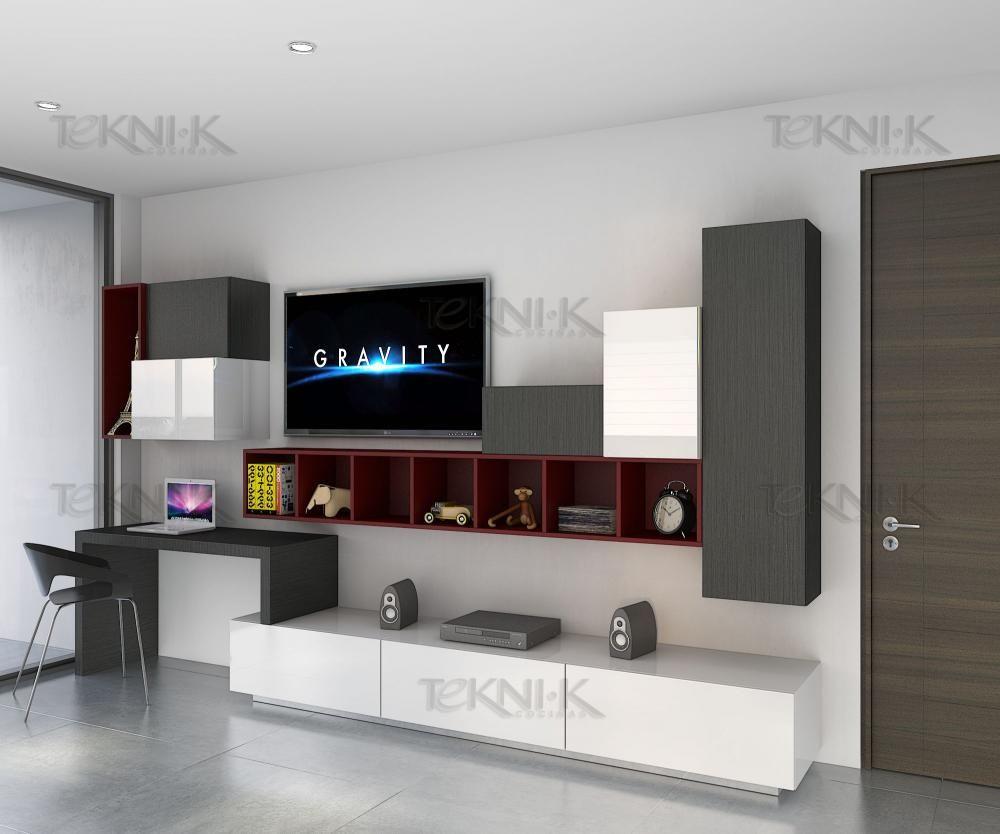 Centro de entretenimiento y estudio listo para una for Diseno de muebles de oficina modernos