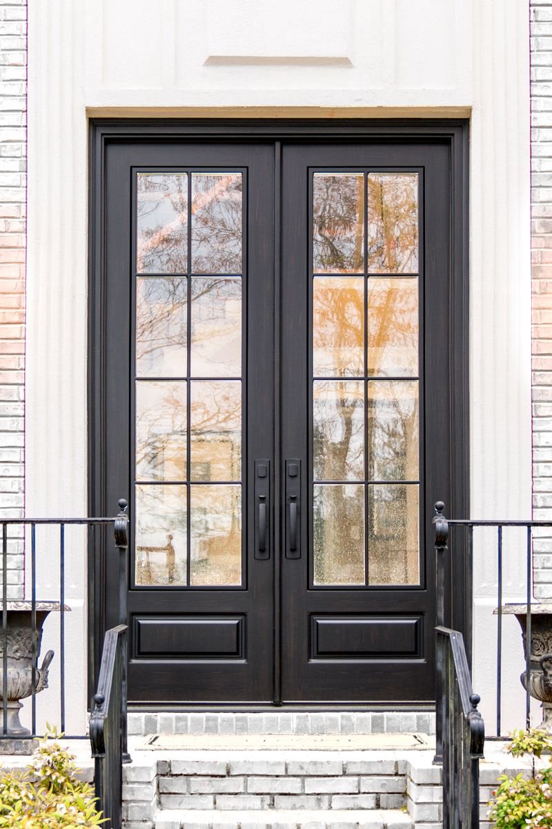 Modern French 8 Lite Double Doors Smooth Black Ebony Double Front Entry Doors French Doors Exterior Front Entry Doors