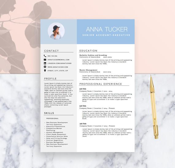 Modern Resume Template  Cv Template For Word Two Page Resume