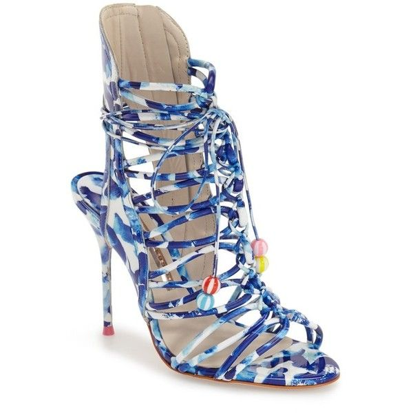 """Sophia Webster 'Lacey Oceana' Sandal, 4"""" heel (£465) ❤ liked on Polyvore featuring shoes, sandals, blue, multi colored sandals, blue leather sandals, high heel sandals, colorful sandals and beach sandals"""