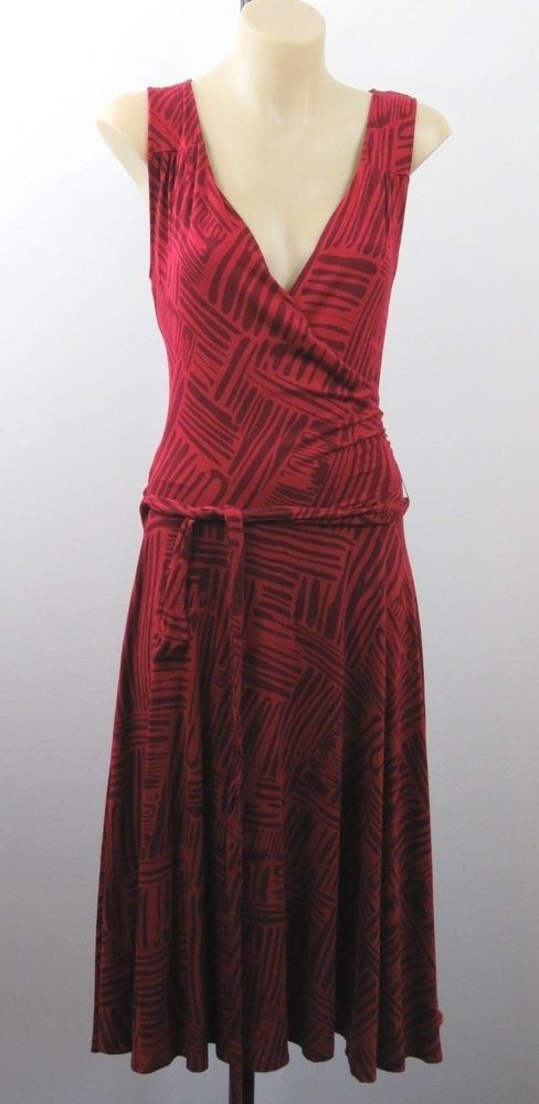Size M 12 Jacqui E Ladies Red Dress Mock