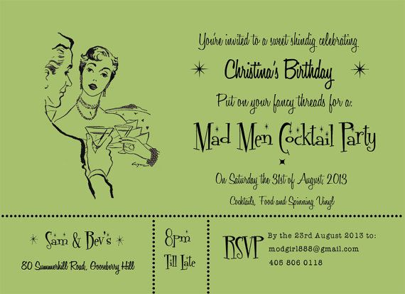 Custom Printable DIY Cocktail Party Invitation PDF Mad Men – Fondue Party Invitation Wording