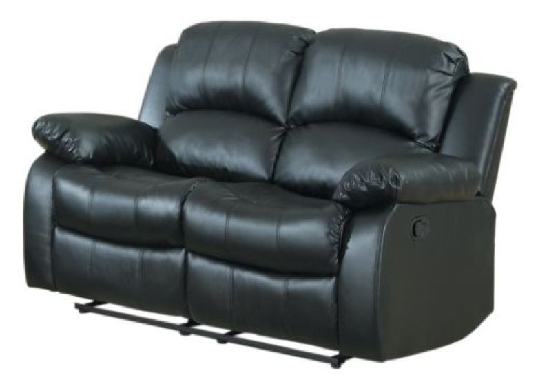 Black Recliner 2 Seater Love Seat Over Stuffed Bonded Leather Chair