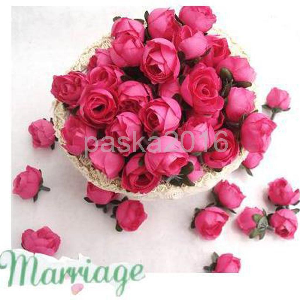 50pcs 3cm Artificial Silk Roses Flower Heads Wedding Decor Craft