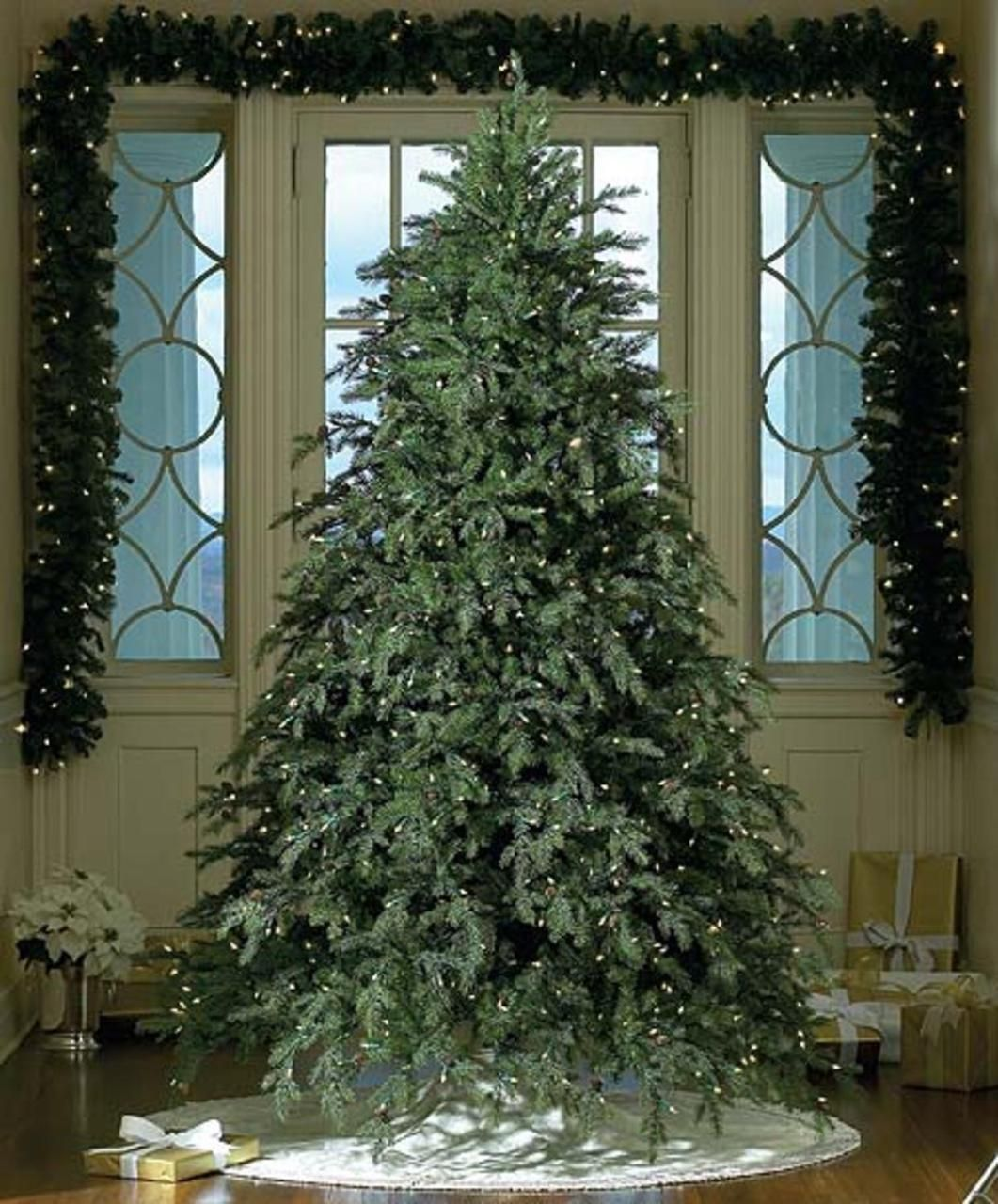7 5 Pre Lit Downswept Hunter Fir Full Artificial Christmas Tree Warm Clear Led