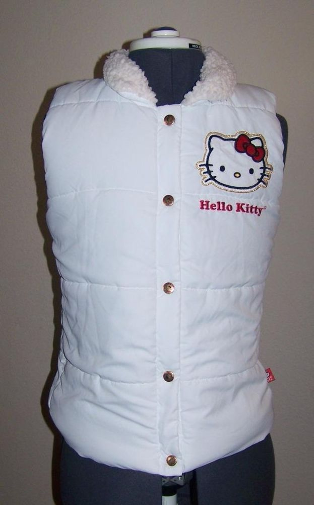 ded45ee24 EUC Hello Kitty Sanrio 40th Anniversary White Puffy Vest Women's Size M  Medium #Sanrio
