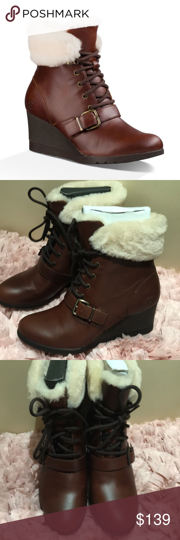 4c85832885c Ugg Janney leather fur wedge lace up boots nwt Beautiful leather ...
