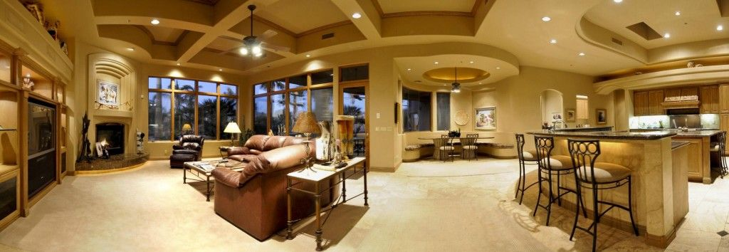 Awesome Living Room! Love The Dining Room Nook.