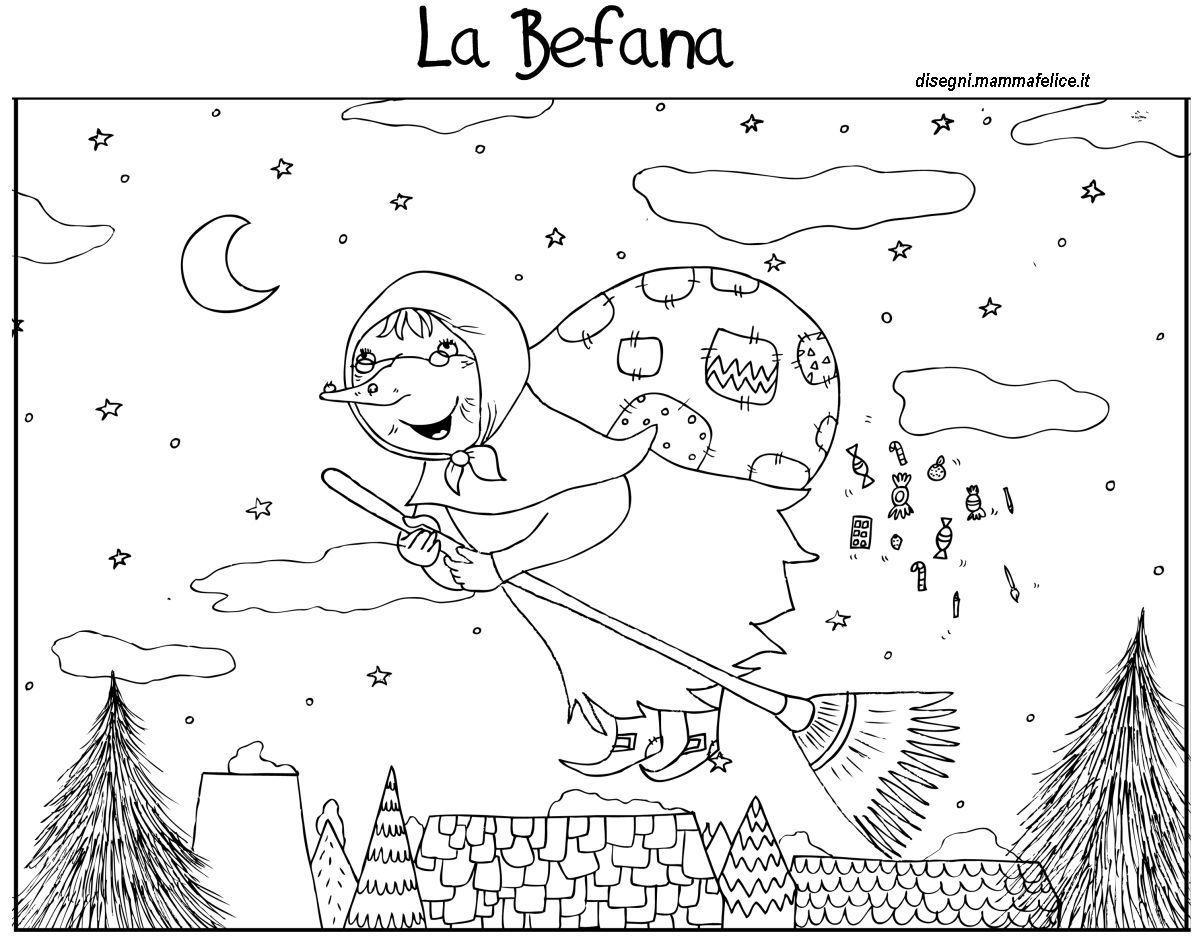 Disegni da colorare bambini befana epifania disegni da for Befana disegno