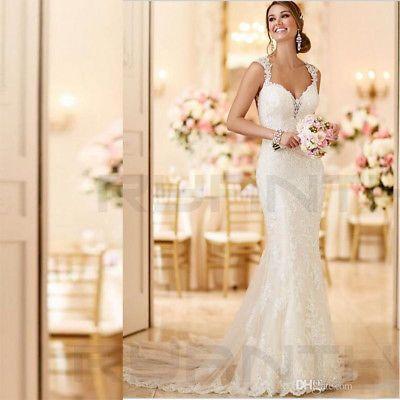 Vestidos de novia sexy con espalda abierta y encaje de sirena 2019 Vestido de novia Vestidos de novia de playa #romanticlace
