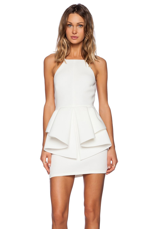 White dress cocktail - Oh My Love Peplum Mini Dress In White