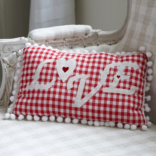 Red Gingham Padded Cushion-Love