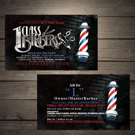 1st Class barbers denver barber shop design | Business Card ...