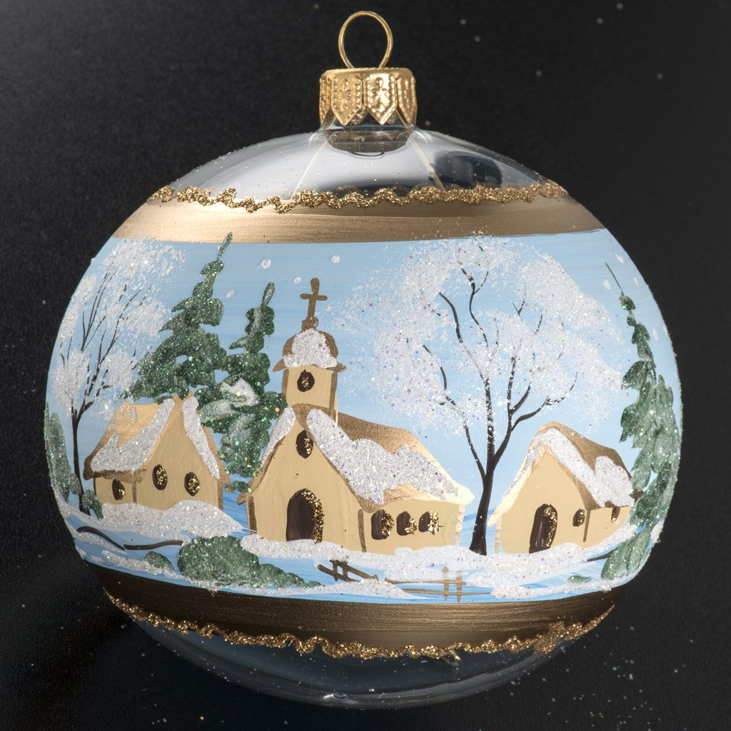 Boule de noel verre paysage enneig peint 10cm christmas - Decoration sapin enneige ...