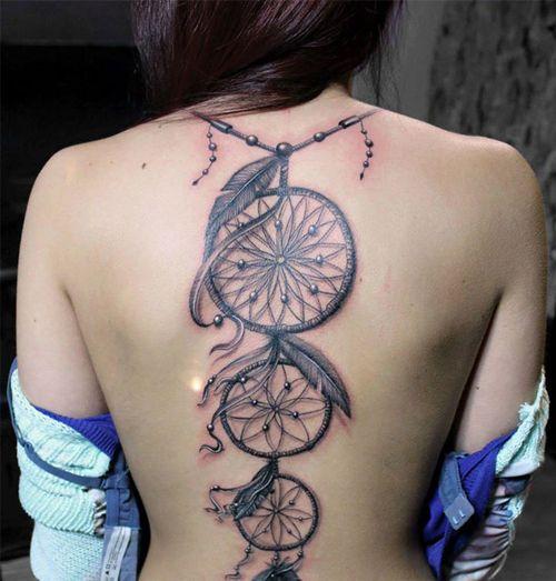 Stunning Full Back Tattoo Design for Girls