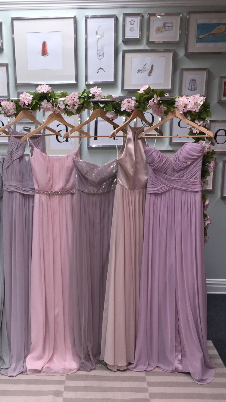 c73218b1816a Love these different shades of dusty pink and purple bridesmaid dresses ❤  More