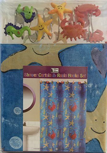 Fish Tales Shower Curtain Rings Hooks By Jumping Beans Whale Turtle /& Crab CUTE!