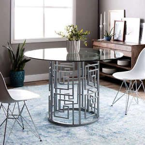 Round Glass Top Metal Base Silver Dining Table Greek Key Unique