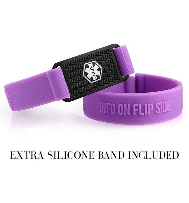 Purple Silicone Medical Alert Bracelet