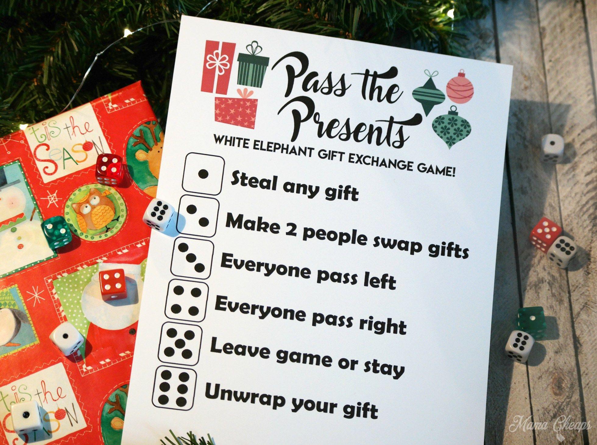 Pass The Presents White Elephant Gift Exchange Game Free Printable