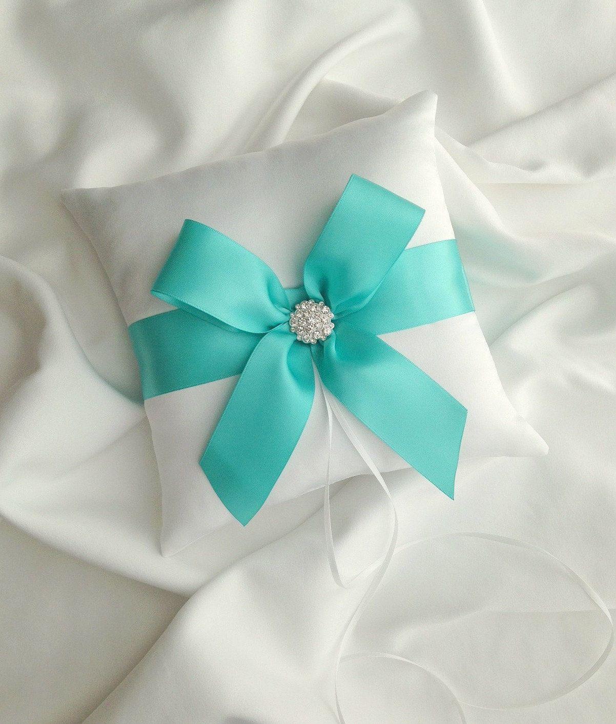 Tiffany Blue Wedding Ring Bearer Pillow White by
