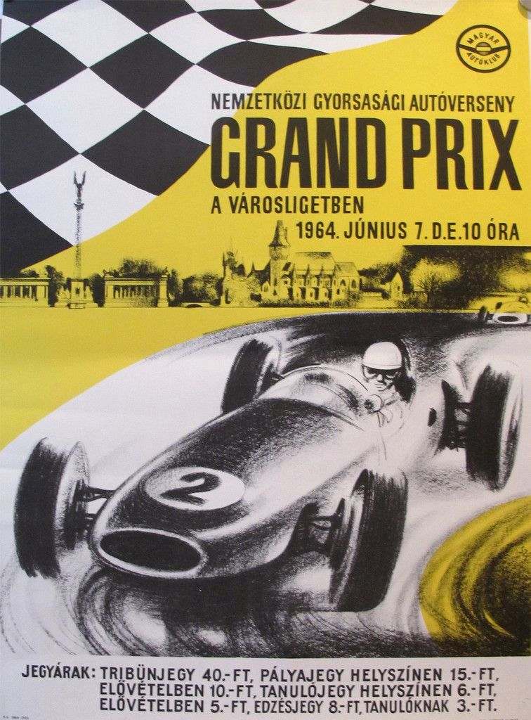 1964 original hungarian grand prix poster car racing. Black Bedroom Furniture Sets. Home Design Ideas