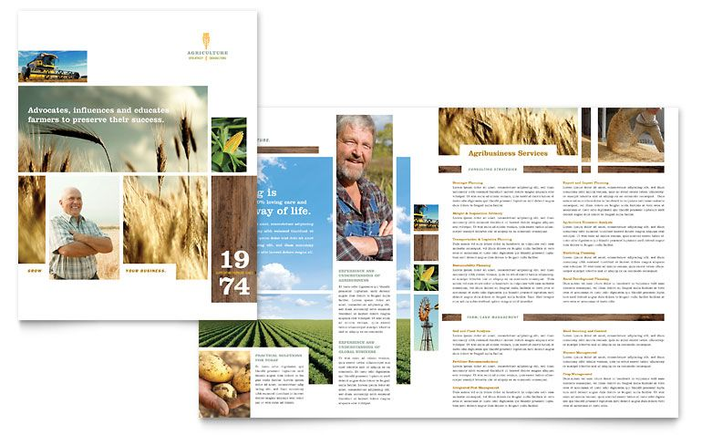 Farming \ Agriculture Brochure Template Design project design - free brochure templates microsoft word