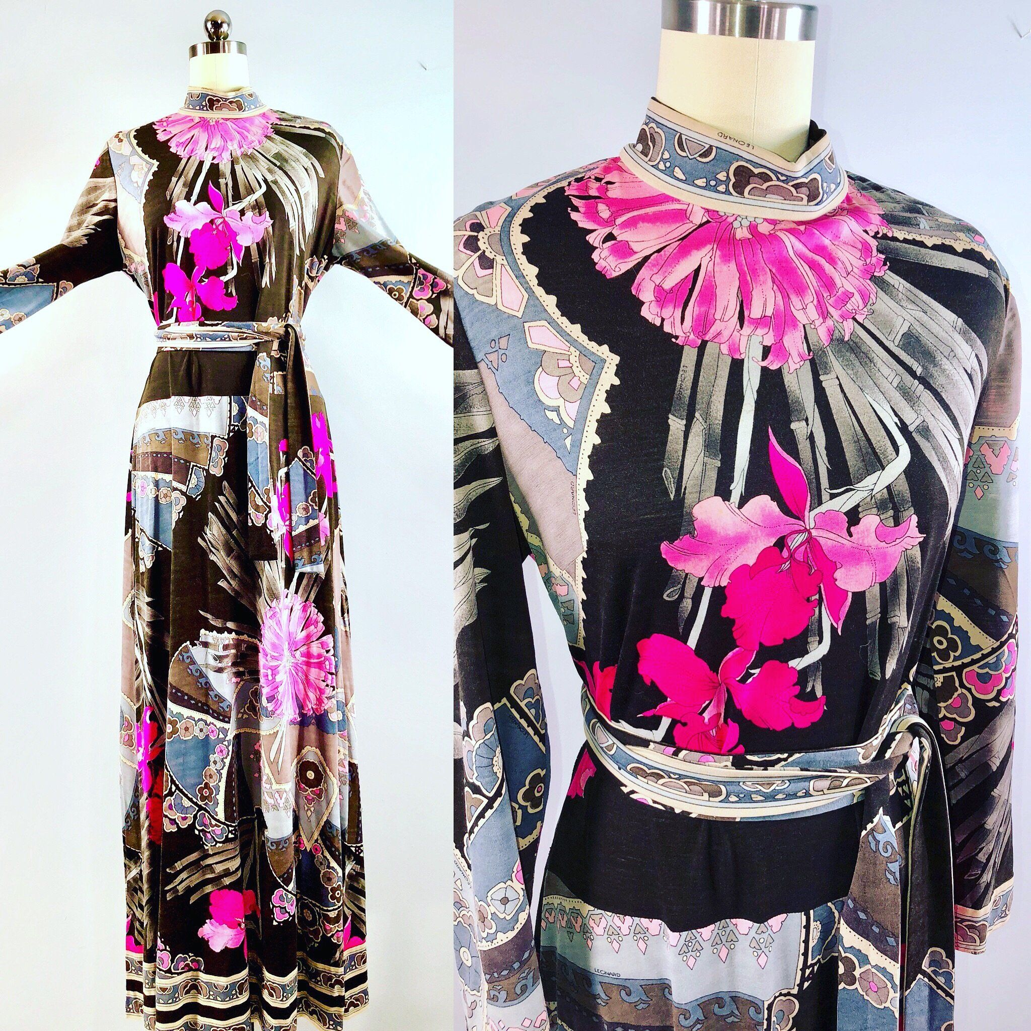 Leonard of paris s vintage s maxi floral wool op art hippie