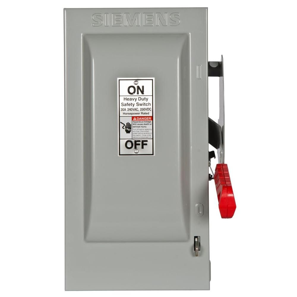Heavy Duty 30 Amp 240-Volt 3-Pole Indoor Fusible Safety Switch with Neutral