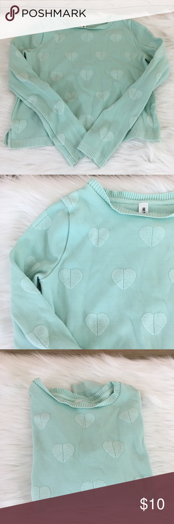 Bethany Mota Mint Heart Girls Sweater Preloved Bethany Mota Peace Sign With Color On Inside