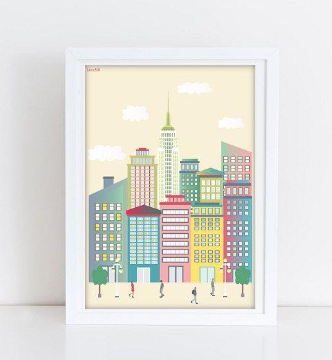 Manhattan ilustraciones ciudades laminas ciudades laminas decorativas imprimibles - Laminas decorativas pared ...