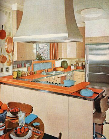 1960s Kitchens kitchens of the 1960s | 1960s kitchen and blue orange
